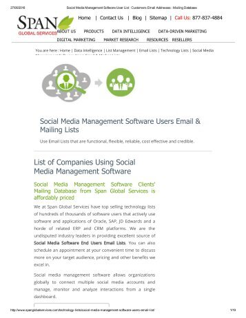 Purchase Customized Social Media Management Software Vendors List from Span Global Services