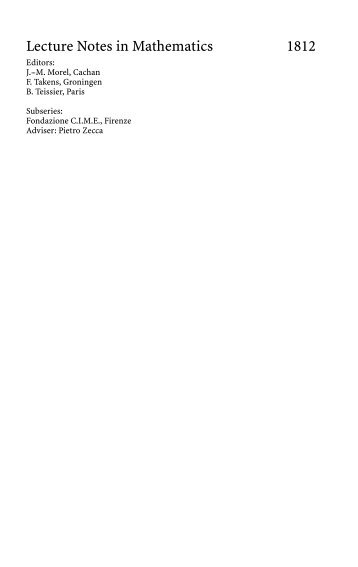 Lecture Notes in Mathematics 1812