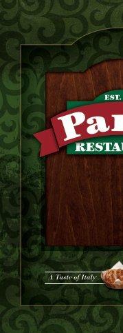 Pane's Restaurant - Dinner Menu