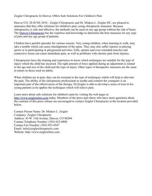 Zeigler Chiropractic In Denver, Offers Safe Solutions For Children's Pain