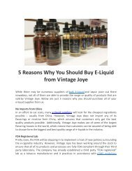 5 Reasons Why You Should Buy E-Liquid from Vintage Joye