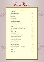 Amber Regent, Gluten Free Menu