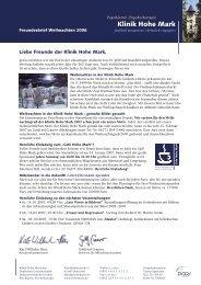 KHM-796-06 Freundesbrief Weihnachten EW.indd - Klinik Hohe Mark