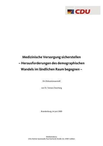 Medizinische Versorgung sicherstellen - Dr. Tamara Zieschang