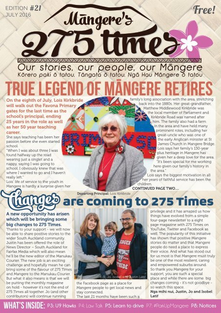 Mangere's 275 Times July 2016