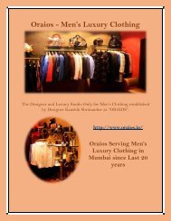 Luxury Clorthing for Men's in Mumbai