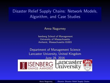 Disaster Relief Supply Chains Network Models Algorithm and Case Studies