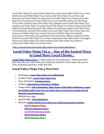 Local Video Ninja Vol.4 review-SECRETS of Local Video Ninja Vol.4 and $16800 BONUS
