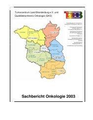 Sachbericht Onkologie 2003 - Tumorzentrum Land Brandenburg