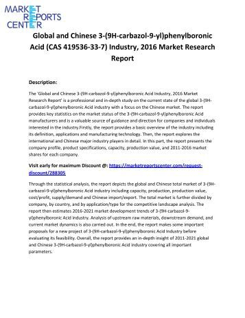 Global and Chinese 3-(9H-carbazol-9-yl)phenylboronic Acid (CAS 419536-33-7) Industry, 2016 Market Research Report