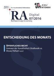 RA 07/2016 - Entscheidung des Monats