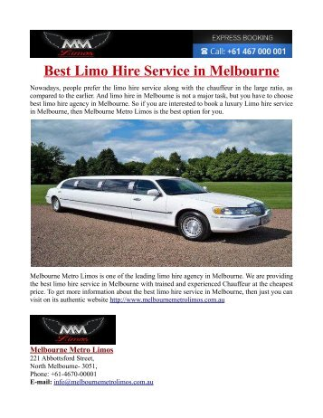 Best Limo Hire Service in Melbourne