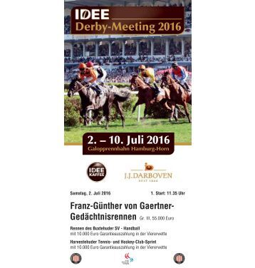 Derby-Meeting 2016 - Rennprogramm 02.07.16 - Renntag 1