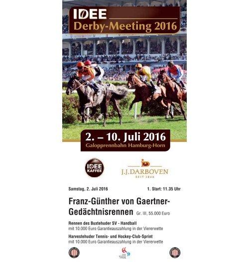 Derby-Meeting 2016 - Rennprogramm 02.07.16 - Renntag 1
