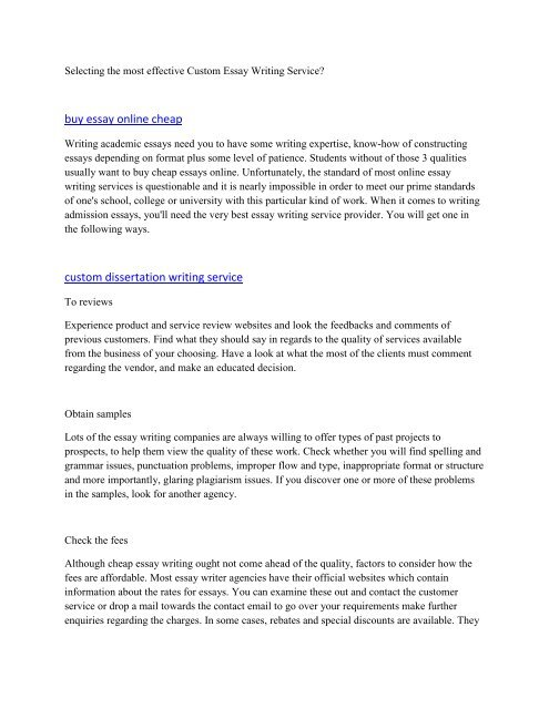 Selecting the most effective Custom Essay Writing Service6