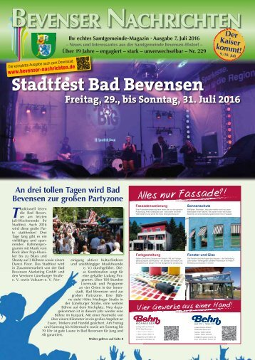 Bevenser Nachrichten Juli 2016
