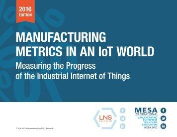 MANUFACTURING METRICS IN AN IoT WORLD