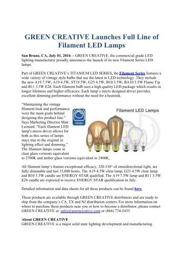 GREEN CREATIVE Launches Full Line of Filament LED Lamps