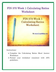 FIN 370 Week 1 Calculating Ratios Worksheet