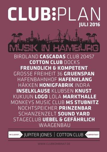 Clubplan Hamburg - Juli 2016