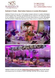 Indian Caterers in London Birmingham - Sukhdevs Foods Ltd
