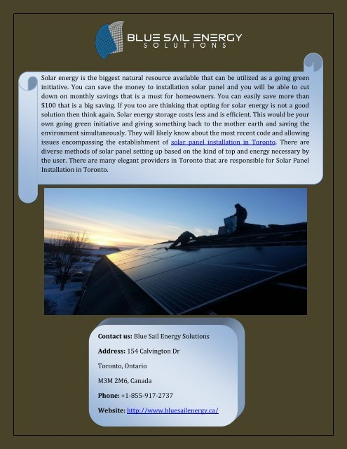 Find Best Solar Panel Installation In Toronto