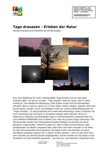 Tage draussen - Erleben der Natur