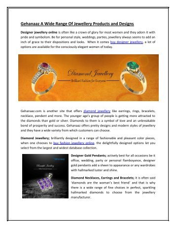 Gehanaaz A Wide Range Of Jewellery Products and Designs