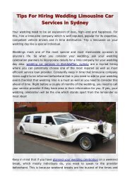 Tips For Hiring Wedding Limousine Car Services in sydney