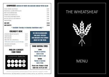 Wheatsheaf Exning Menu 2016