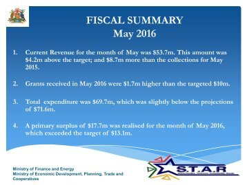 FISCAL SUMMARY May 2016