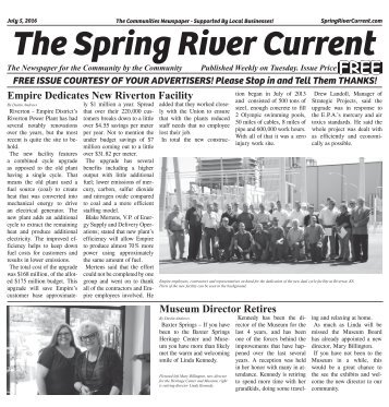The Spring River Current July 5, 2016