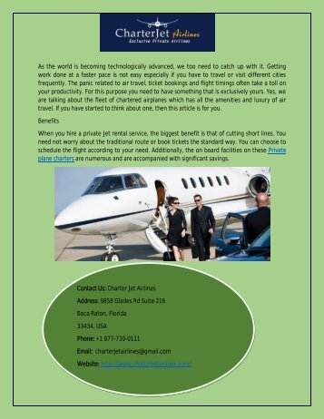 Hire Best Private Plane Charter
