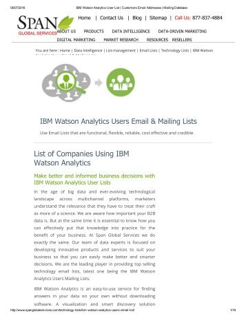 Buy Tele Verified List of IBM Watson Analytics using Companies from Span Global Services