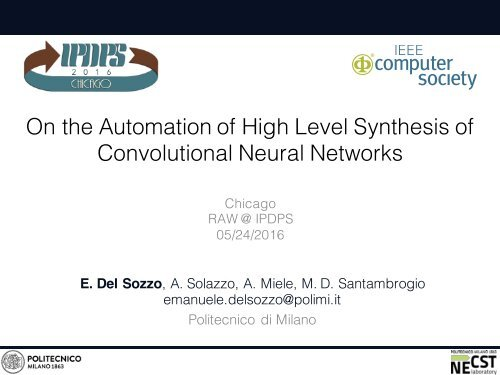 On the Automation of High Level Synthesis of Convolutional