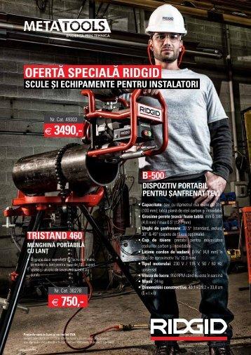 Promoție echipamente pentru instalatori Ridgid