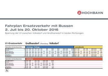 Fahrplan: Ersatzverkehr mit Bussen zwischen Volksdorf und Großhansdorf