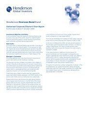 Henderson Overseas Bond Fund - Henderson Global Investors