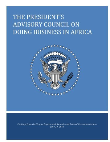 THE PRESIDENT'S ADVISORY COUNCIL ON DOING BUSINESS IN AFRICA