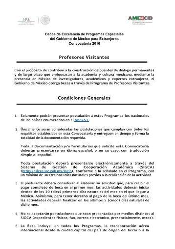 Profesores Visitantes Condiciones Generales