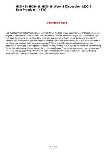 HCS 498 HCS498 HCS/498 Week 2 Discussion 1/DQ 1 Best Practices -{NEW}