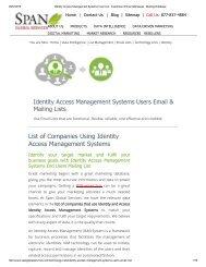 Get Tele Verified Identity Access Management System Customer Lists from Span Global Services