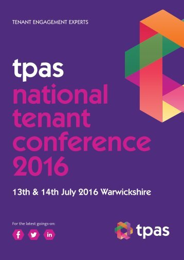 Welcome to the Tpas Conference 2016 Tpas Conference 2016 Programme