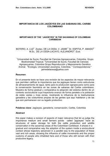 IMPORTANCIA DE LOS JAGÜEYES EN LAS SABANAS DEL - RECIA