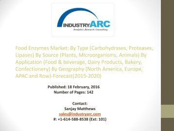 Food enzymes Market: plant based enzymes to witness higher growth compared to others through 2020