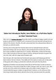 Salon Invi Introduces Stylist, Jane Maher, as a Full-time Stylist on their Talented Team