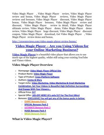 Video Magic Player review and (COOL) $32400 bonuses