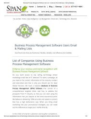 Get Business Process Management Software Customer Lists from Span Global Services
