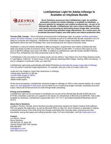 LinkOptimizer Light for Adobe InDesign Is Available on InkyDeals Bundle