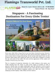 Singapore - A Fascinating Destination For Every Globe Trotter